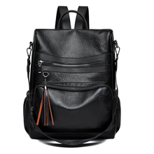 2018 Tassel Backpack Women Pu Leather Female Backpacks School Bags For Teenage Girls College Travel Backpack Pure color