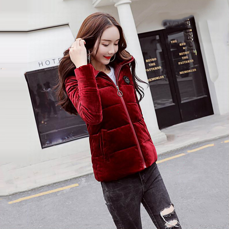 76fa67588a3 Winter Velvet Fabric Wine Red Beige Black Jacket 2018 Womens Plus Size  M-XXXL Down Cotton Clothes Stitching Hooded Winter Coats