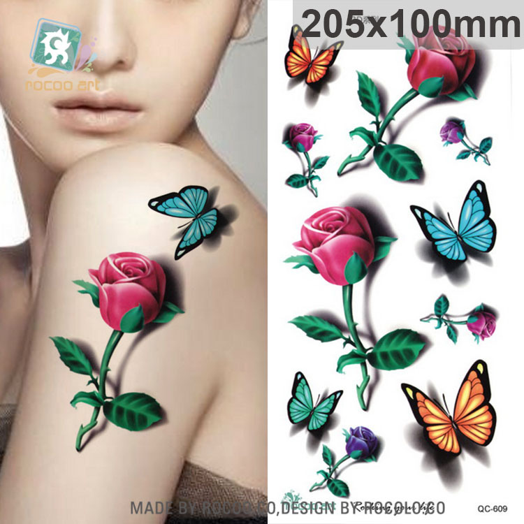 Body Art Waterproof temporary tattoo sticker for women Beautiful 3d colours butterfly rose large arm tatoo wholesale QC2609