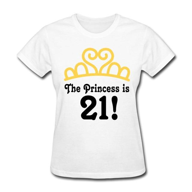 2017 New Arrival O Neck Blusa Tumblr Printed Pure Cottons Womens Short 21st Birthday Princess Crown Fashion Tee Shirts