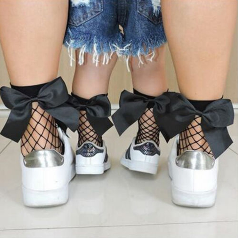 1Pair Women Baby Girls Kids Mesh Socks Bow Fishnet Ankle High Lace Fish Net Vintage Short Sock Fashion Summer One Size