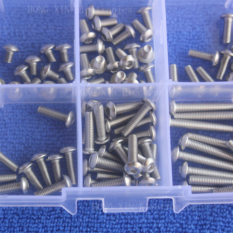 New 120cs Set M3 Button Head Socket Cap Screw Assortment Kit 4 6 8 12 16 20mm Stainless Steel Button Head Socket Cap Screw in Nut Bolt Sets from Home Improvement