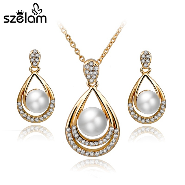 Szelam Teardrop Necklace Earring Set Gold Silver Simulated Pearl Jewellery For Women Wedding Jewelry