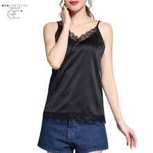 ElaCentelha 2017 Summer Chiffon Tank Tops Women Camisole Vest Ladies V Neck Sexy Strappy Lace Patchwork Hollow Camis Tops