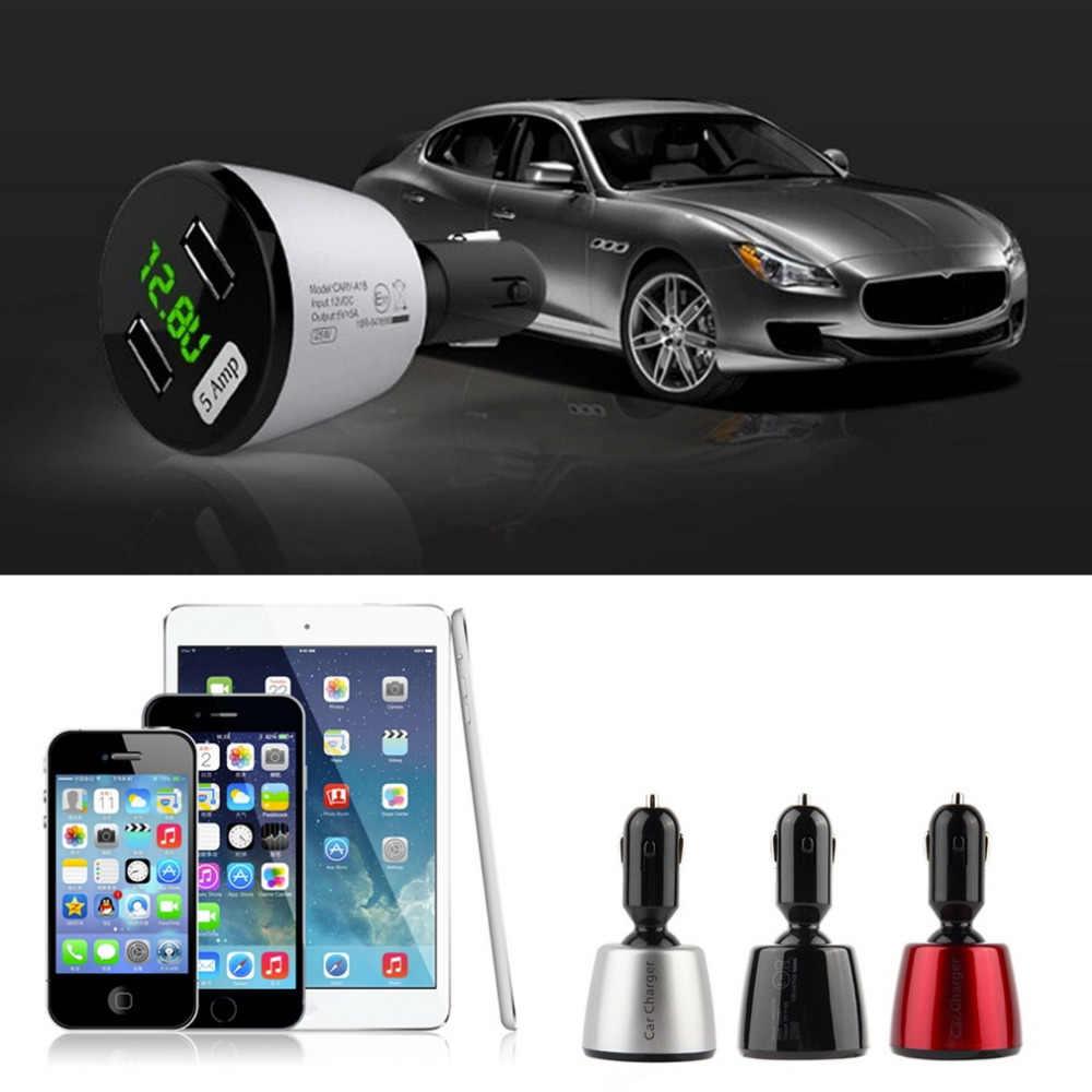 Автомобильное зарядное светодио дный устройство USAMS с двумя портами автомобильное зарядное устройство 5A Dual USB Smart LED дисплей Автомобильный USB телефон переходник для зарядного устройства для iPhone samsung