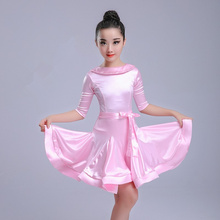 Детское платье костюм для латиноамериканских танцев, детские спортивные бальные платья из спандекса для девочек, юбки с рюшами для сальсы, румбы, ча, ча, самбы, танго