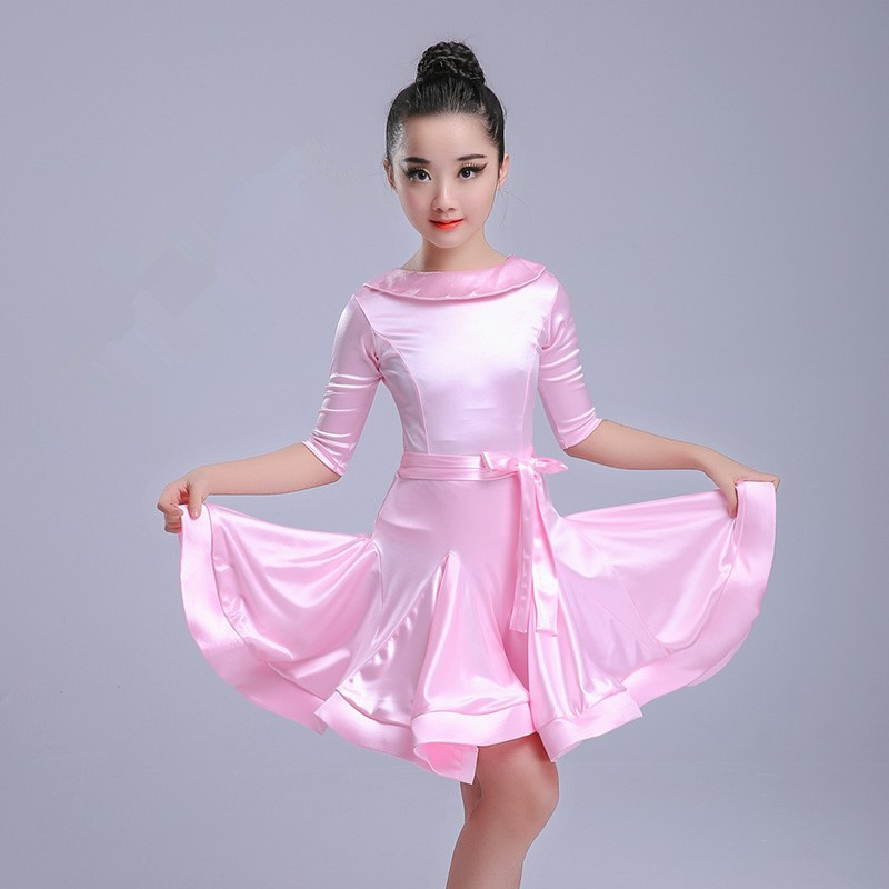 Kids Latin Dress Costume Children Competition Ballroom Dance Spandex For Girls Salsa Rumba Cha Cha Samba Tango Ruffle Skirts