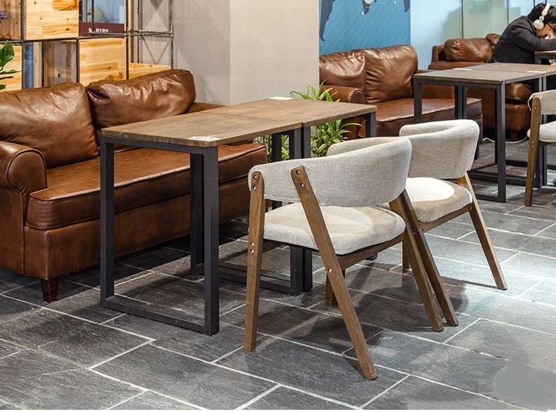 Restaurant Chair Grey Color Coffee House Wood Stool Retail