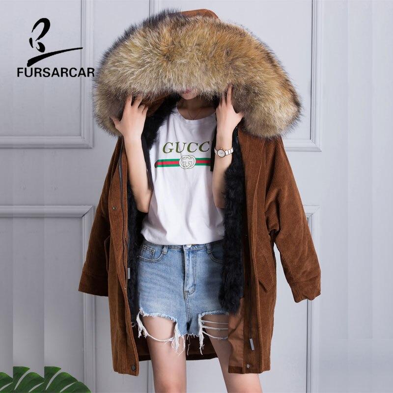 FURSARCAR 2017 Nova Gola de Pele De Guaxinim das Mulheres de Veludo de Algodão Casacos de Inverno Quente Longo Casaco de Forro de Lã Real Fur Parka jaqueta