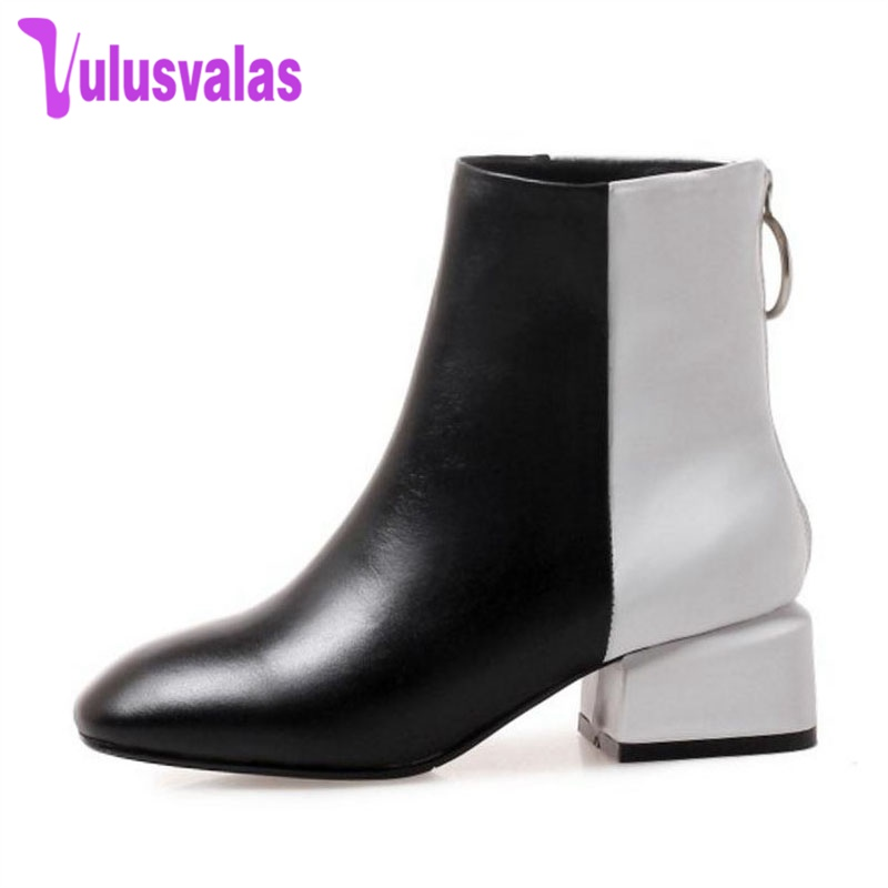 De Véritable En Taille 33 Couleur Hiver Bottes Vulusvalas Femmes blanc  Courtes Cheville Mode Noir Chaussures Cuir ... 6909d77da6c3
