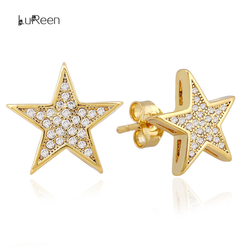 LuReen Luxury Gold Silver Star Ανδρικό σκουλαρίκι Micro Pave CZ Zircon Rhinestone Stud Earrings For Women Jewelry GiftWGEH1005