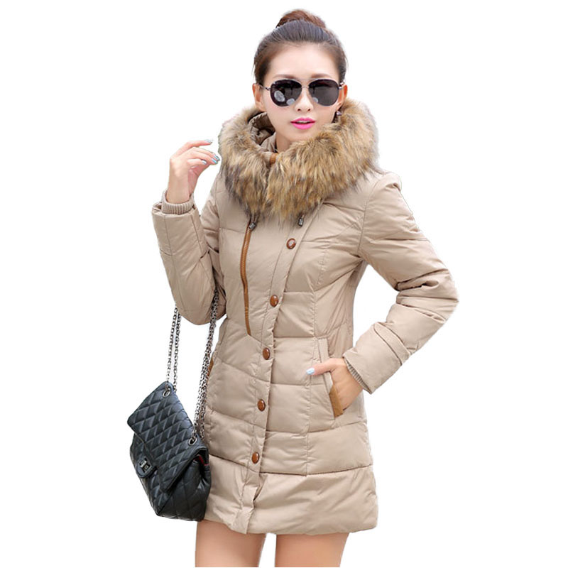 2017 New Women Winter Quilted Jacket Hooded Long Sleeve Slim Fit Warm Cotton Padded Coat Outwear Windbreaker Parka Female 2017 new women winter coat long quilted jacket thick warm solid color cotton parkas female slim hooded zipper outwear okb88