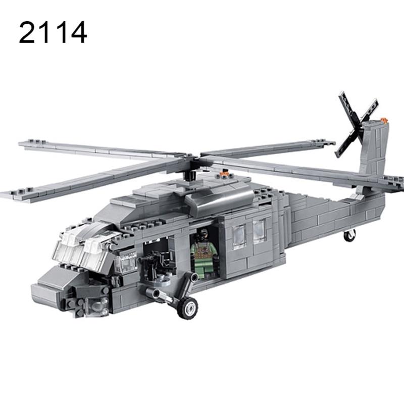 Decool 2114 UH-60 Black Hawk Commandos Helicopter Sheng Yuan Building Block Kids DIY Bricks Toys for Children