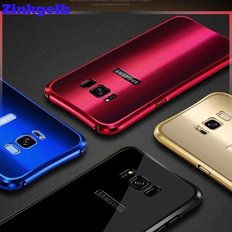 imágenes para Para Samsung S8 Caso de Lujo de Aluminio Duro Del Brillo de Metal + Acrílico Armadura Trasera Protectora Caso Caja Del Teléfono Para Samsung S8plus cubierta