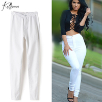 New 2017 Spring Women S Clothing Candy Color Pencil Pants Ladies High Waist Elastic Trousers White
