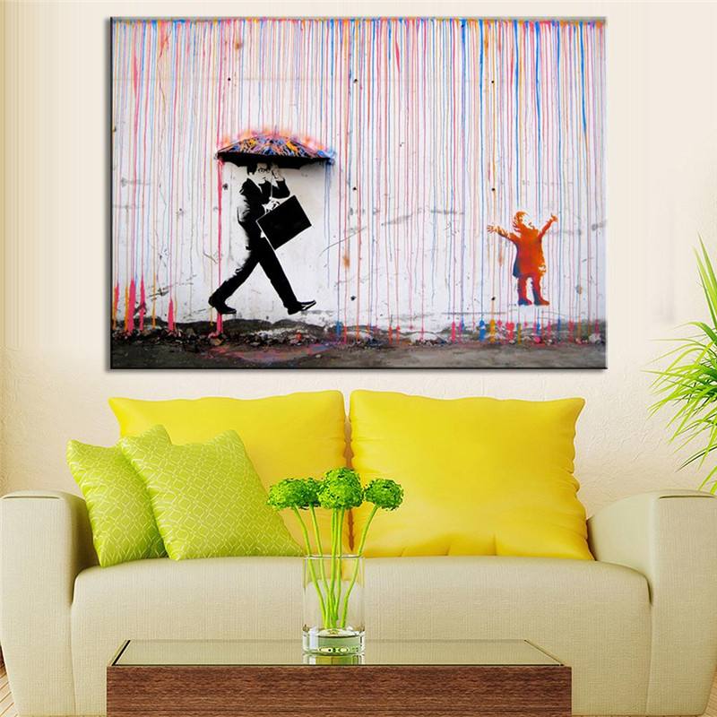Banksy art colorful rain wall canvas wall art living room for Artistic living room ideas