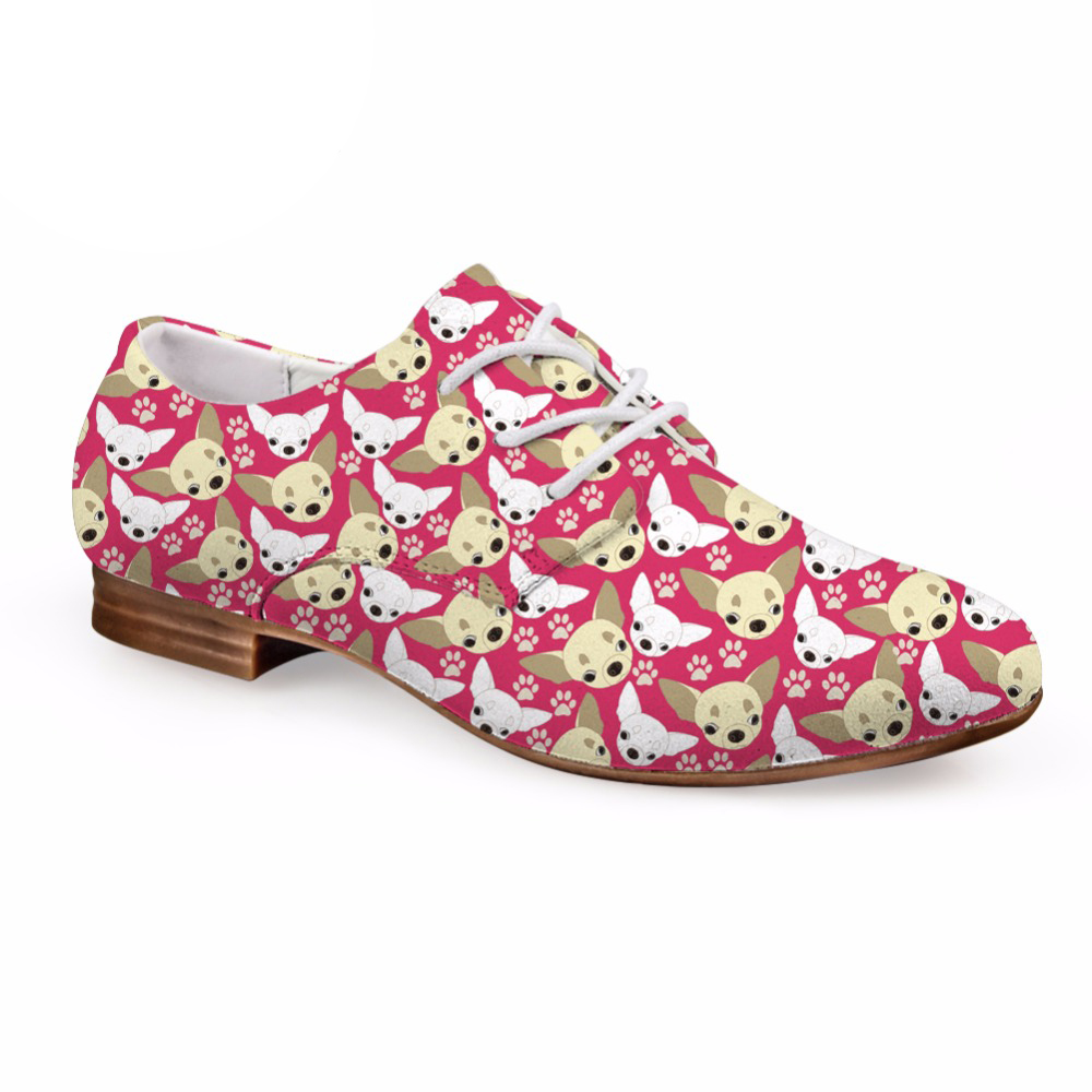 Cute Chihuahua <font><b>Puzzle</b></font> Women Spring Flats Shoes Lace-up <font><b>Oxfords</b></font> Shoes for Lady Fashion Leather Dress Shoes Woman 2018