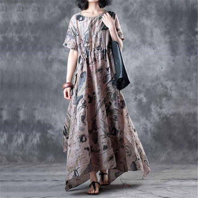 9ccd2ffdd26 BUYKUD Printed Maxi dress for Women Fashion Summer Loose Dress Vintage  Round Neck Short Sleeve Beige Linen Elegant Dress