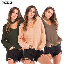 PGSD New Autumn Winter Simple fashion Women Clothes Hang neck V collar loose Pure color Long sleeves Knitted sweater female недорого