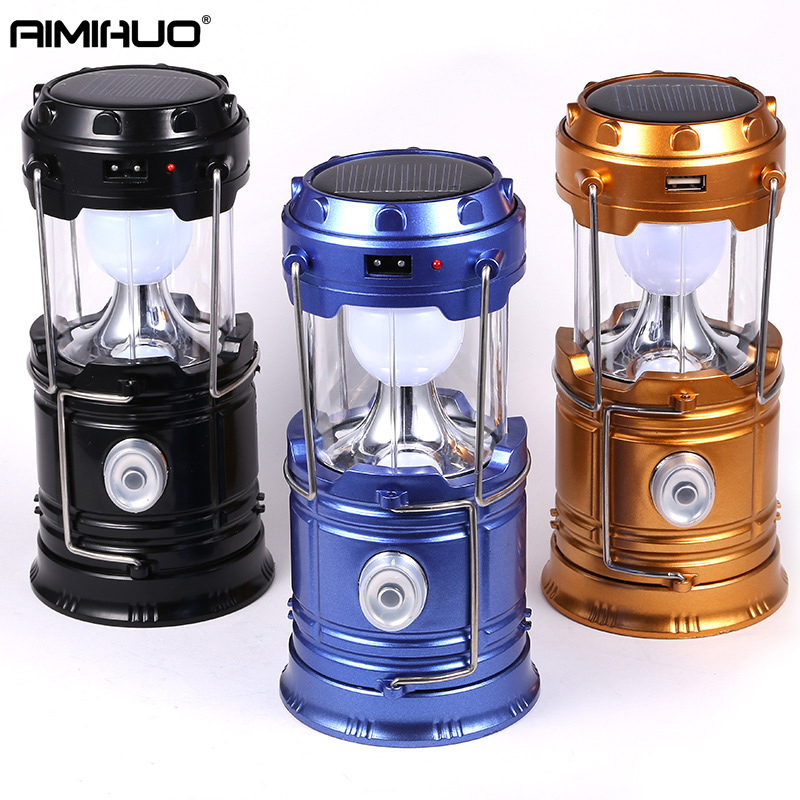 AIMIHUO LED Solar Power Collapsible Flashlights Portable Lamp LED Rechargeable Hand Lamp Camping Lantern Light