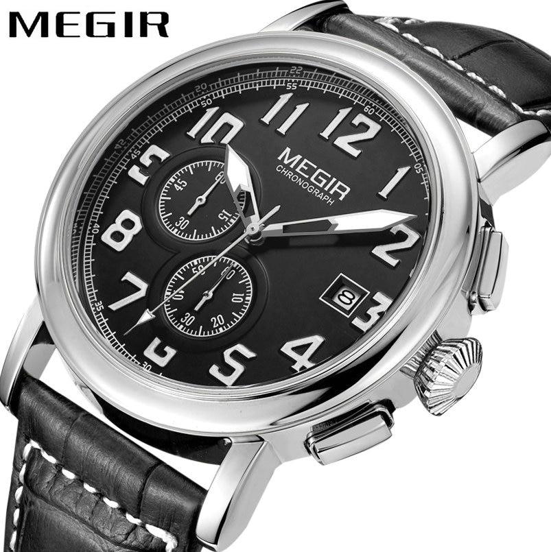 MEGIR Fashion Casual Men Quartz Watch Leather Strap Date Display Cool Black Dial Minimalist Classic Waterproof Wrist Watches