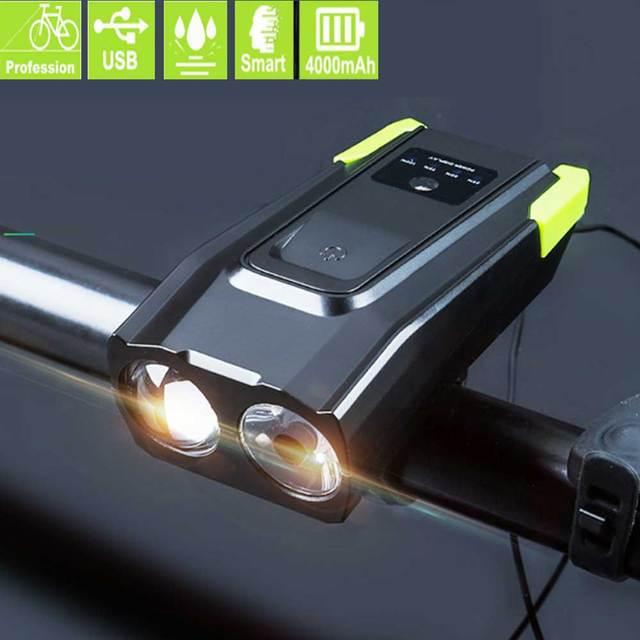 4000 mAh אינדוקציה אופניים מול אור USB נטענת LED פנס עם צופר 800 lumens אופני פנס מנורה
