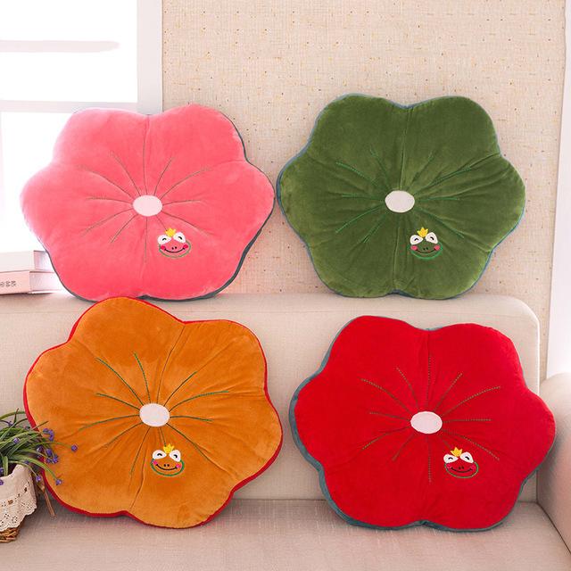Planta bonito Folha de Lótus Sofá Carro Almofada Padrão Animal Impresso 50x50 cm Almofada Dos Desenhos Animados Travesseiro Almofada de Volta