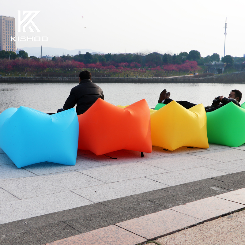 Outdoor Inflatable Lounger Lazy Guy Air Sofa for Lunch Rest Beach Sunbath Waterproof Sleeping Bag in Many Colors