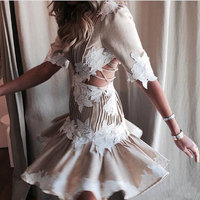 2018 Fashion High Quality Embroidery Backless Women Mini dress Pull Sleeve New Runway Designer Party Vestido Nonle Pleased Dress