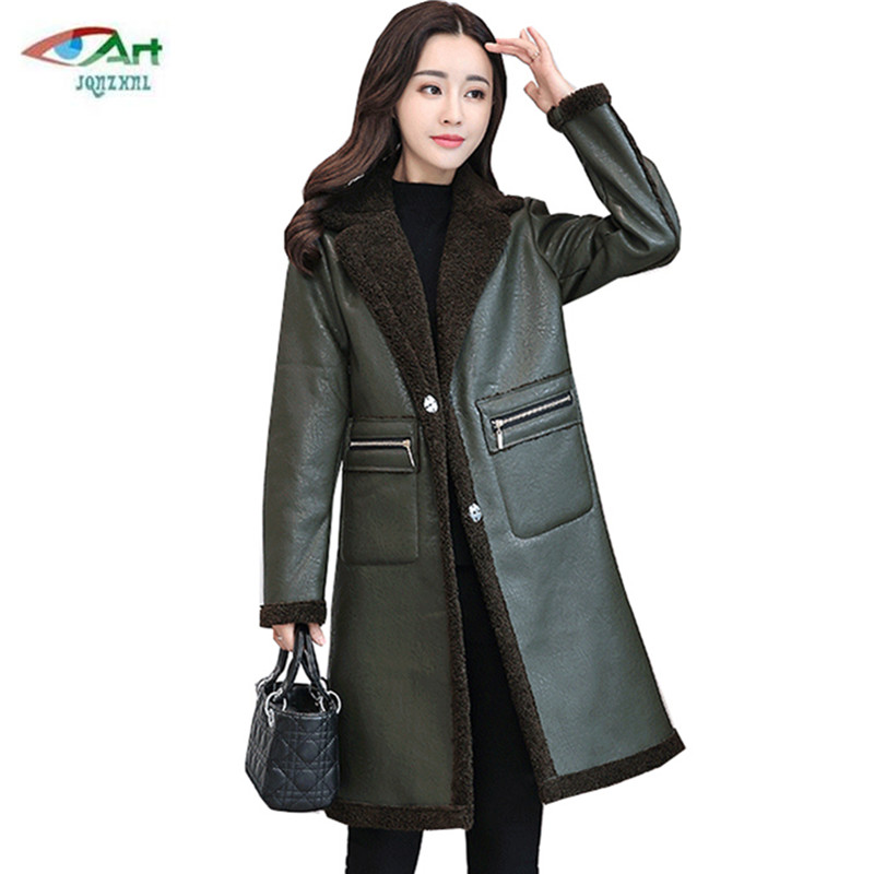 663a280e6b7 Detail Feedback Questions about Winter large size women leather jacket  autumn thick warm Faux Leather jacket fashion lapel casual solid color  leather coat ...