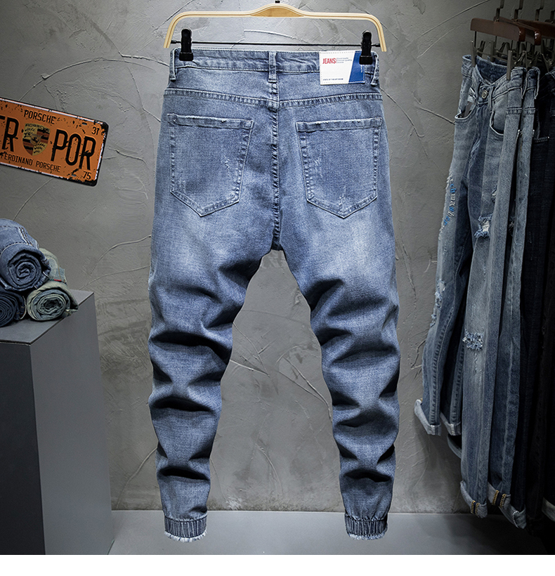 KSTUN 2019 Men Jeans Slim Fit Light Blue Elastic Hollow Out Ripped Feet Jogger Pants Male Leisure Modis Trend Streetwear Jeans Homme 12