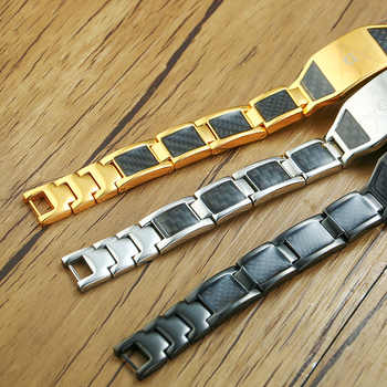 Vinterly Magnetic Bracelet Men Stainless Steel Health Energy Hologram Bracelets Gold-color Carbon Fiber ID Bracelet for Men 2018