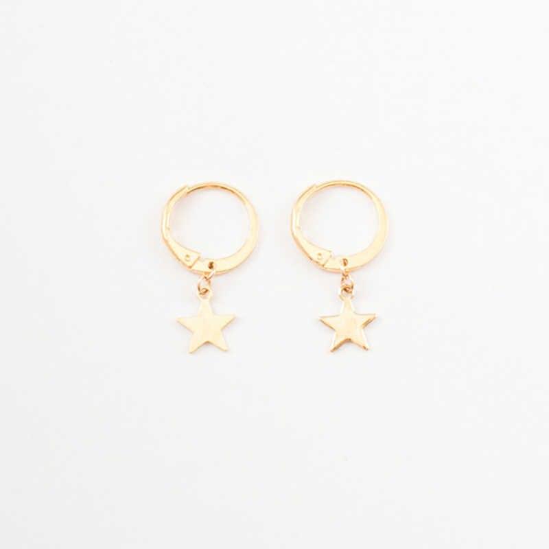 a031b4b58d8ad GHIDBK Simple Gold Color Small Star Hoop Earrings for Women Mini Huggies  Earrings Hoops 2018 Boho Geometrical Piercing Earrings