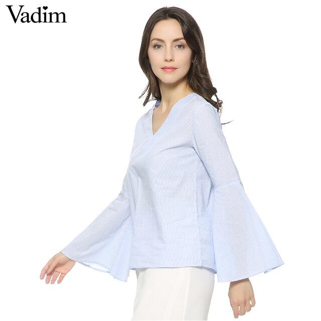 Camisas elegantes de manga acampanada con cuello en V a rayas vintage de verano blusas sueltas de moda casual blusas blusa ropa mujer LT950