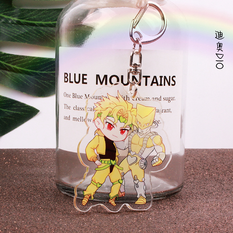 Anime Jojos Bizarre Adventure Keychain Cartoon Figure Acrylic Cute Keychain Collection Gifts 2019