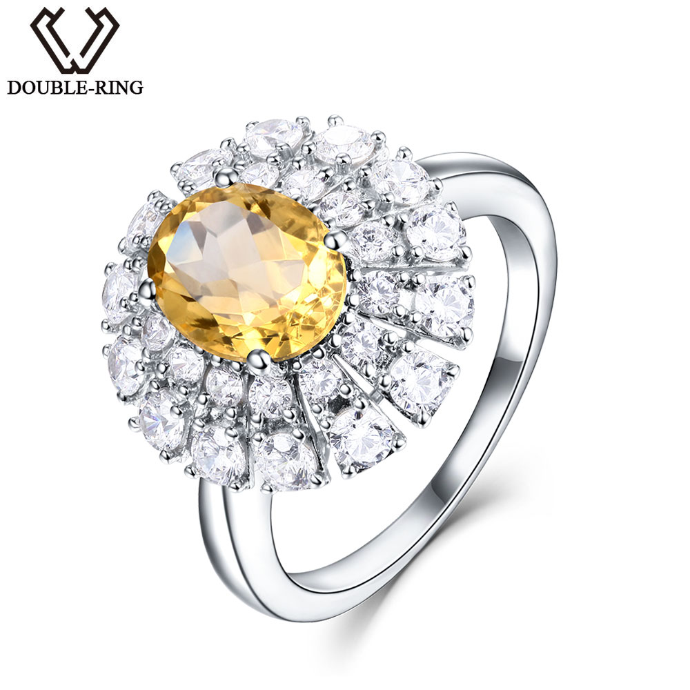 DOUBLE-R 1.74ct  Natural Citrine 925 Sterling Silver Gemstone Ring EmbroideryDOUBLE-R 1.74ct  Natural Citrine 925 Sterling Silver Gemstone Ring Embroidery
