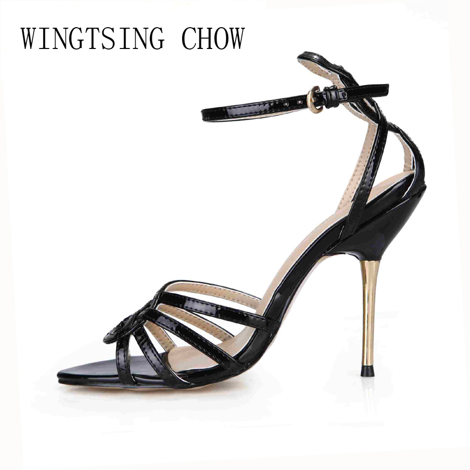 2016 New Black Sexy Party Shoes Women Open Toe Stiletto High Heels Career Work Office Ladies Sandals Zapatos Mujer  3845C-5b baibeiqi summer style women sandals high heels shoes ladies sexy open toe ankle buckle stiletto heels ol work shoes plus size