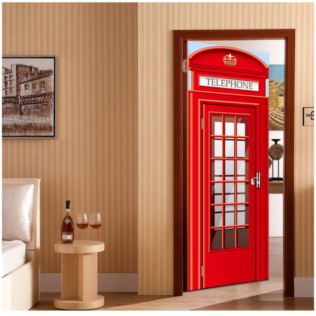 Us 18 0 10 Off British Red Phone Booth Diy Wall Painting Mural Wallpaper Background Wall Paper Living Room Bedroom Door Sticker Pvc Murals In