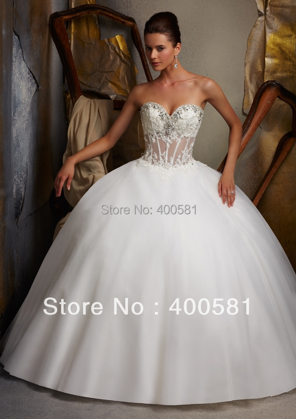 Flashy Sweetheart Crystal Trim Alencon Lace On Tulle Puffy Ball Gown Sweep Train Wedding Dress In Dresses From Weddings Events