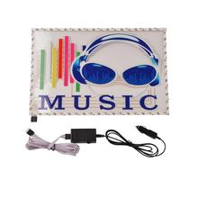 Car Stickers 45.5cm*29.6cm Colorful Headsets Car Sticker Music Rhythm LED Flash Lamp Sound Activated light 2000H