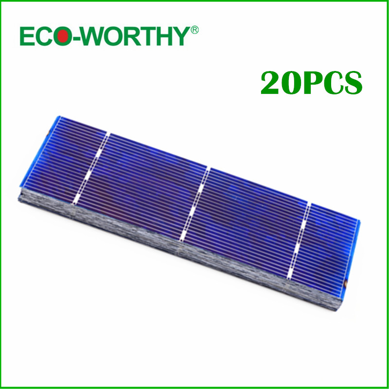20pcs Poly Solar Cell 156x39mm Polycrystalline Solar Cells High Efficiency 1W/pc Solar Module High Quality for DIY Solar Panel