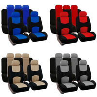 Dewtreetali Four Seasons 9pcs Set Front Rear Car Seat Covers Universal Fit Car Seat Protectors Blue