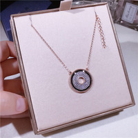 S925 sterling silver fashion rhinestone disc necklace geometric circle clavicle chain jewelry women