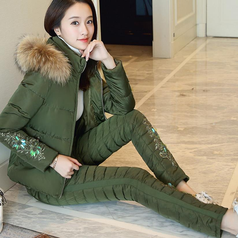 lace embroidery cotton-padded winter coat jacket suits female 2 piece leisure cotton-padded pants set