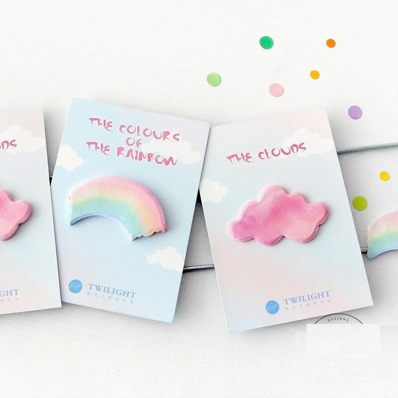 4 copë / Lot Retë Rainbow Shënime ngjitëse Ngjyra memorie - Fletore dhe notesa - Foto 3