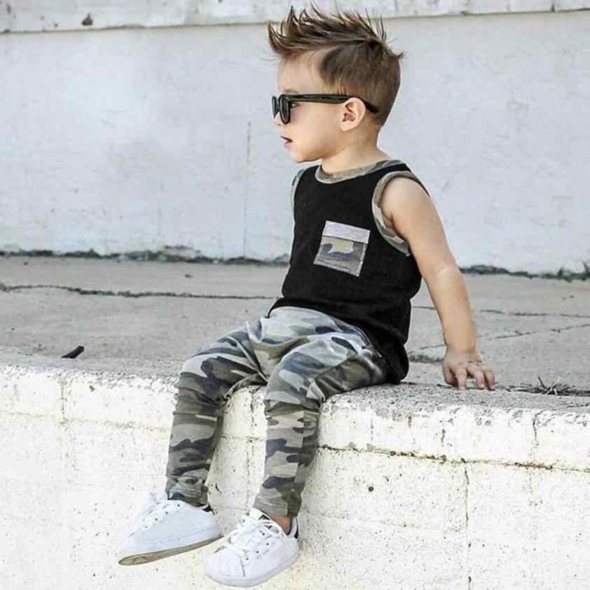 פעוט תינוקות תינוק בני בנות הסוואה חולצות אפוד מכנסיים תלבושות בגדי סט מגניב רחוב סגנון רך אופנתי יולי 23