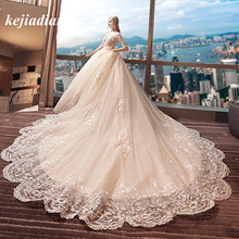 kejiadian Elegant Style Royal Train Ball Gown Wedding Dress