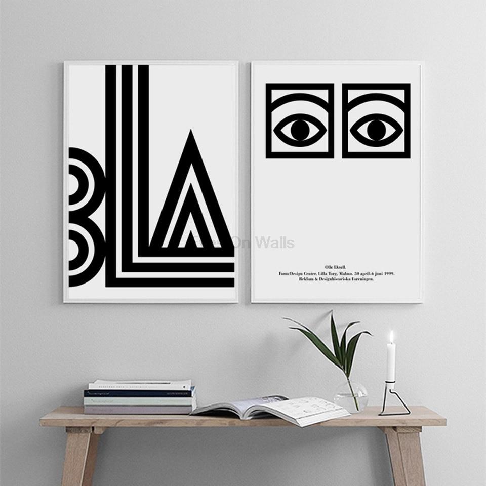 Kein Rahmen Geometrische Poster Schwarz Weiß Skandinavischen ...