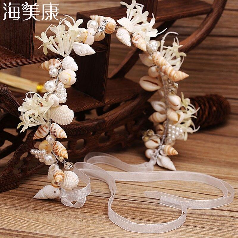 Haimeikang Beautiful Mermaid Wreath Wedding Bridal Crowns Headband Hair Accessories Girl Summer Beach Shell Wreath Headwear