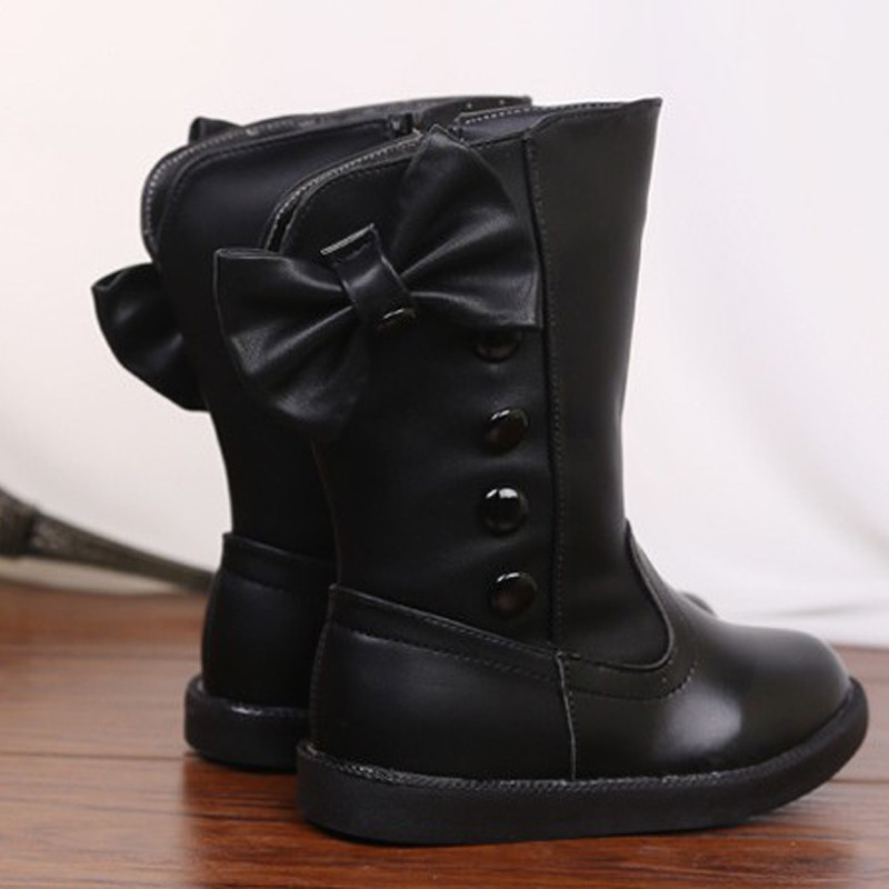 Promotion-Kids-Shoes-Children-Girls-Boots-Soft-Leather-Waterproof-Boots-Autumn-Fashion-Rivet-Girl-Warm-Bow-Mid-Calf-Bootie-Shoes-3